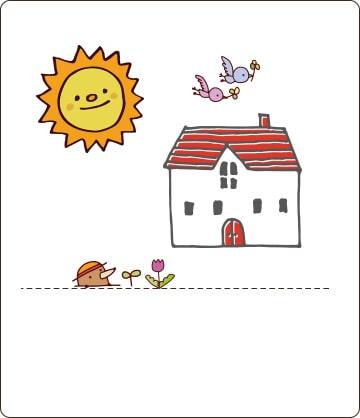 一軒家の周りに太陽や小動物がいるイラスト画像