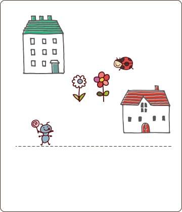 一軒家が2戸と昆虫やお花のイラスト画像