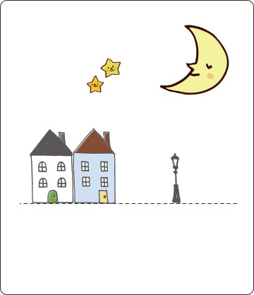 一軒家が2戸と月や星のイラスト画像