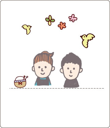 小さな女の子と男の子や小鳥のイラスト画像